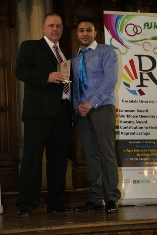 Diversity in Retail Award - Winner ASDA - Tony Rutherfor, Rochdale store manager, with Yasar Zaman, MD of Language Empire