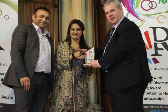 Diversity in Housing Award - Winner Great Places Housing Group - Shoaib Akhtar and colleague receive the award
