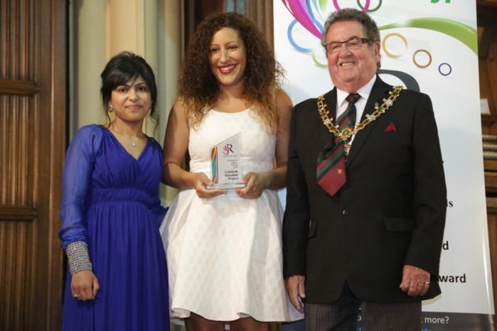 Diversity in Leisure Award - Winner Link 4 Life Volunteer Project - Farah Rahman and a volunteer receive the award from Cllr Peter Rush, Mayor of Rochdale
