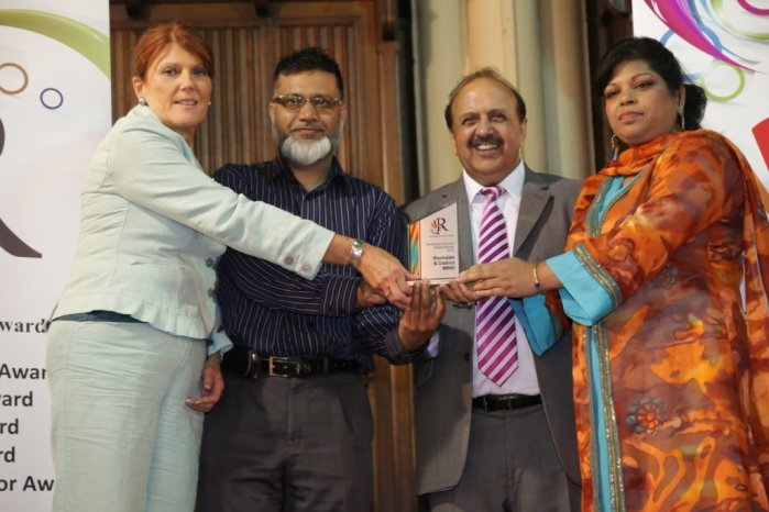 Workforce Diversity Award winner - Rochdale & District Mind colleagues - with Lord Hussain of Luton